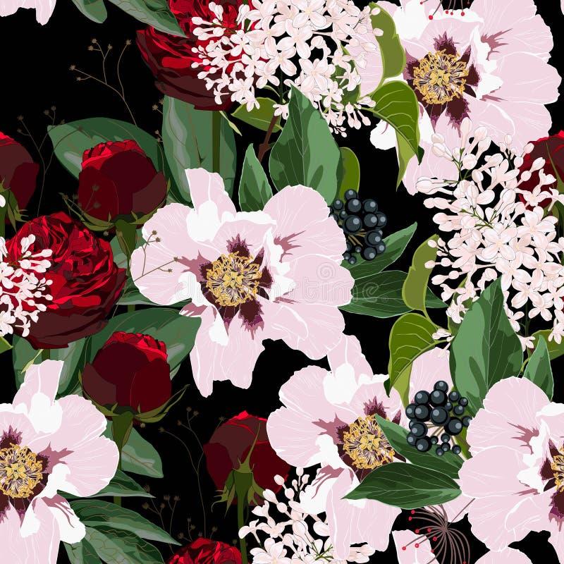 Rote Rosen und rosa Pfingstrosenblumen mit Beeren und nahtlosem Muster des lila Blumenstrau?es Aquarellartillustration vektor abbildung