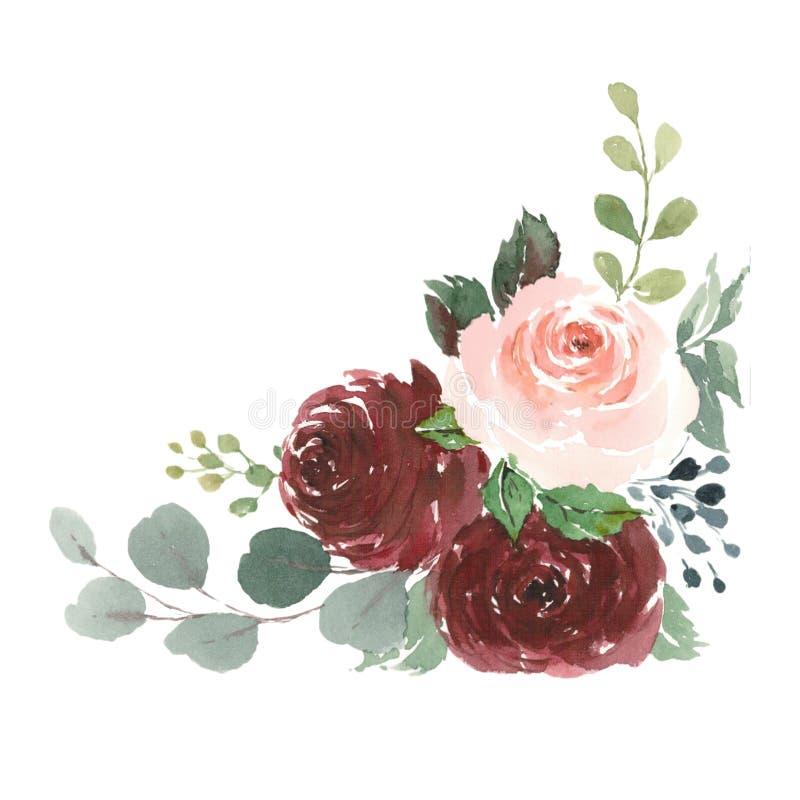 Rote Rosen verzieren für Heiratsbriefpapier, Aquarell lizenzfreie abbildung