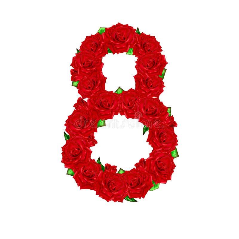 Rote Rosen werden in einer Zahl von acht auf einem weißen backgroun ausgebreitet vektor abbildung