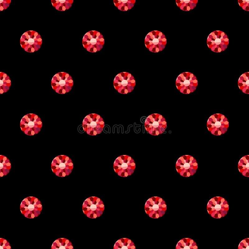 Rote Rubine auf schwarzem nahtlosem einfachem Artmuster vektor abbildung