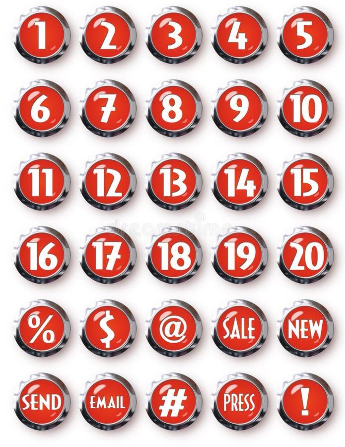 Rote runde Knopf-weiße Zahlen Chromes und andere Symbole vektor abbildung