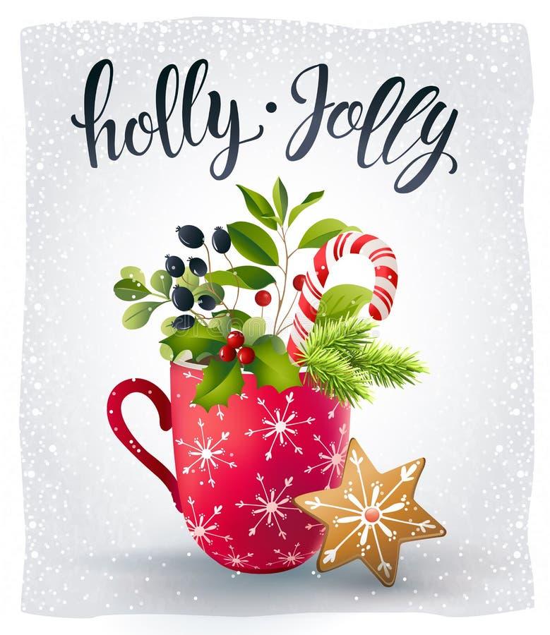 Rote Schale mit heißer Schokolade und Eibischen und Lebkuchenplätzchen Weihnachtszeitzusammensetzung Auch im corel abgehobenen Be lizenzfreie abbildung
