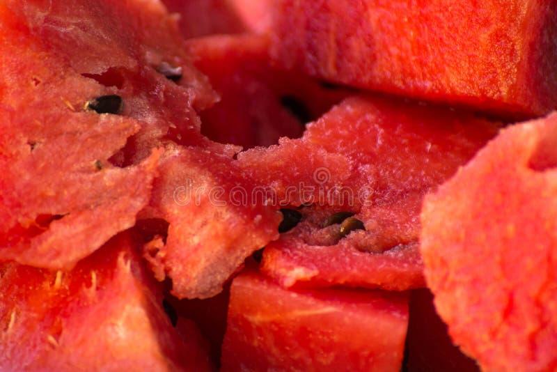 Rote Scheibe der frischen Frucht der Wassermelone stockfotos