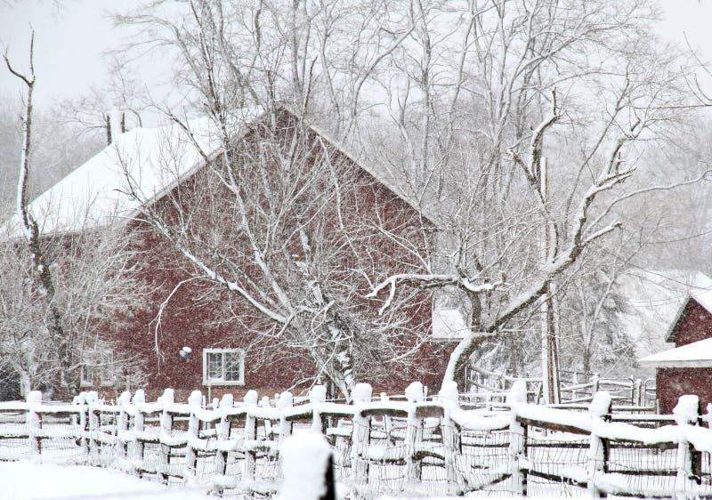 Rote Scheune im Schneesturm stockfotos