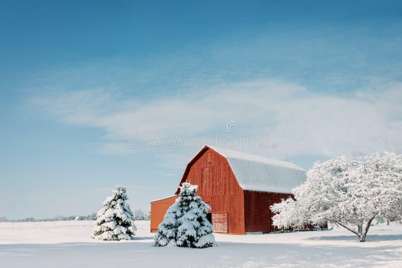 Rote Scheune mit Schnee stockbild