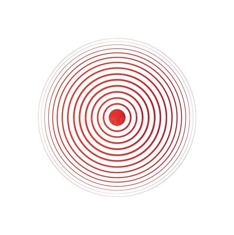Rote Schmerzringe Symbol des Wachsens von körperlichen Schmerz stock abbildung