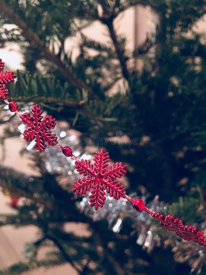 Rote Schneeflocke im grünen Baum lizenzfreie stockfotografie