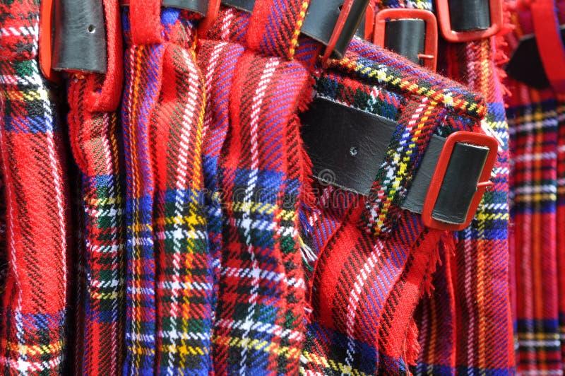 Rote schottische Kilts mit Gürtelschnalle stockfotografie