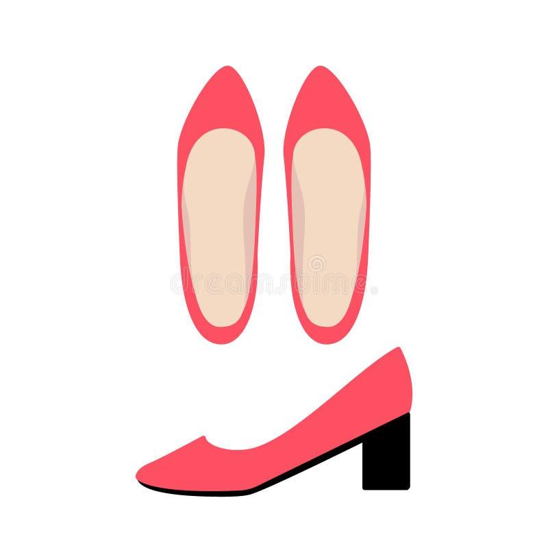 Rote Schuhspitze und Seitenansicht Die klassischen Schuhe der Frauen vektor abbildung