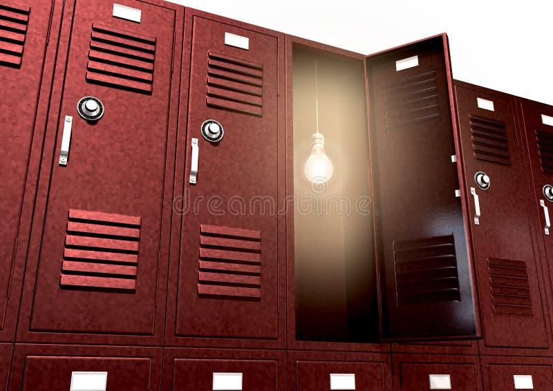 Rote Schulschließfächer mit Glühlampe innerhalb der Perspektive lizenzfreie stockfotografie