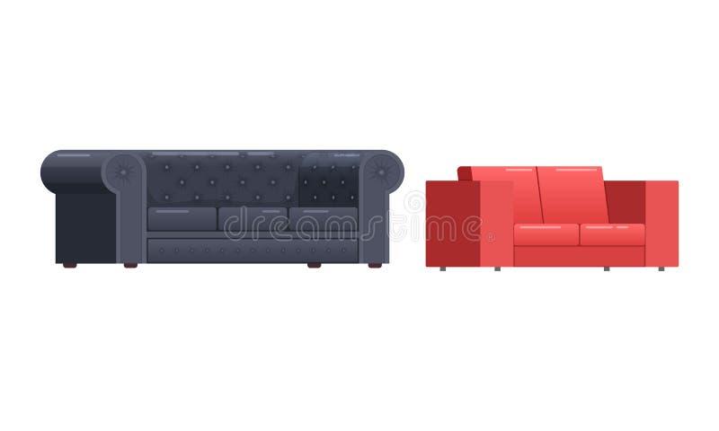 Rote, schwarze lederne Sofas, für Haus und Büro, Innenlieferung vektor abbildung