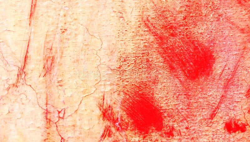 Rote, schwarze, orange und wei?e B?rstenanschlag-Wandbeschaffenheit des Schmutzes des konkreten Bodenhintergrundes f?r Schaffungs lizenzfreie stockfotografie