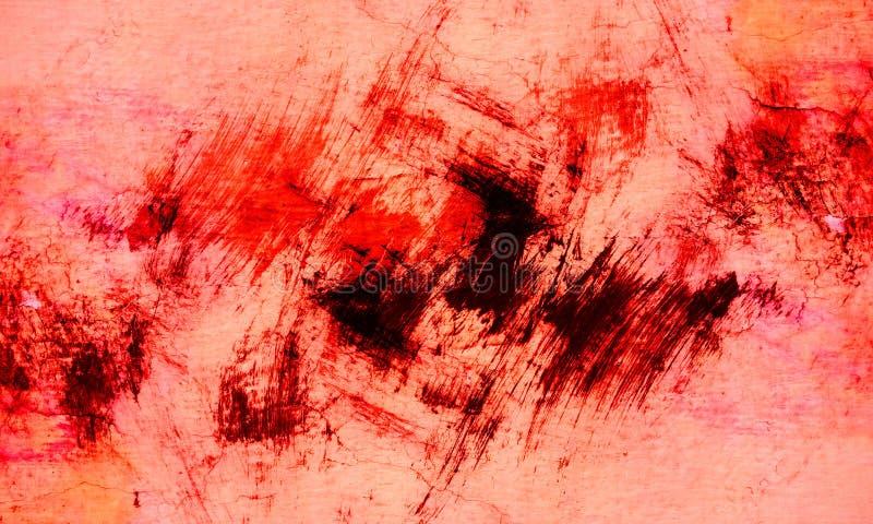 Rote, schwarze, orange und wei?e B?rstenanschlag-Wandbeschaffenheit des Schmutzes des konkreten Bodenhintergrundes f?r Schaffungs lizenzfreies stockfoto