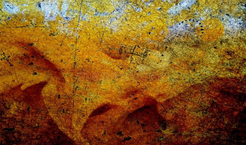 Rote, schwarze und gelbe schattierte Wand maserte Hintergrund Papierschmutzhintergrundbeschaffenheit Eine Abbildung einer Batikau lizenzfreies stockfoto