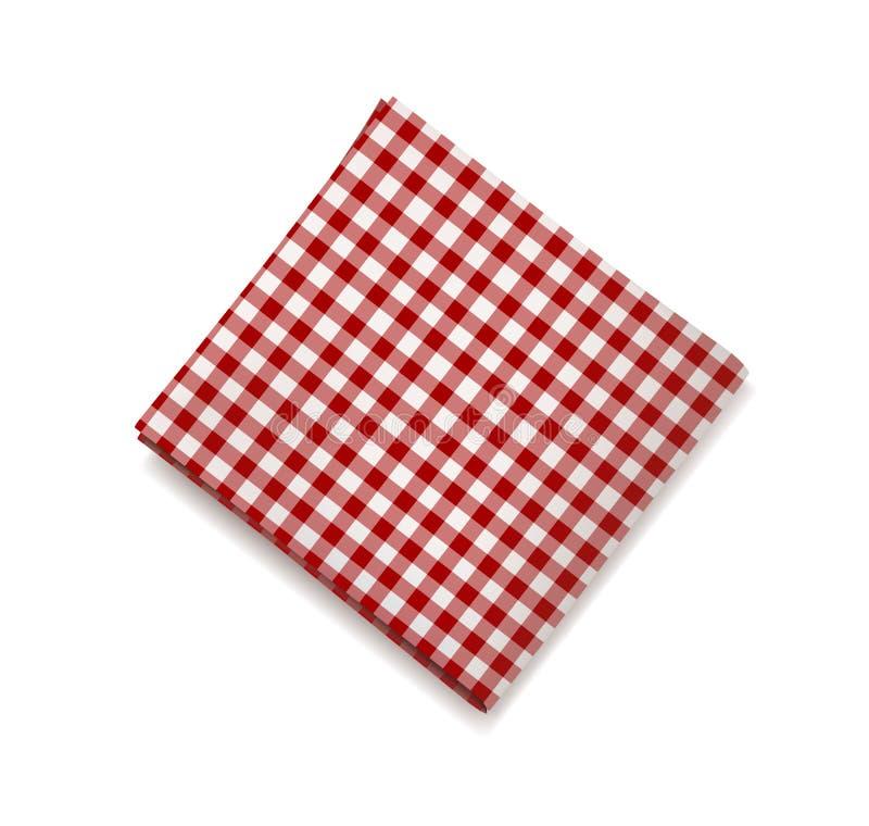Rote Serviette auf einem weißen Hintergrund Plaidginghamtischdecke für Café und Restaurant entwerfen stock abbildung