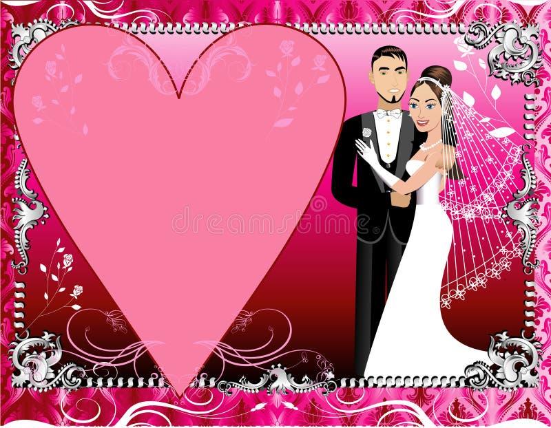 Rote Silberne Hochzeits-Schablone Vektor Abbildung - Illustration ...