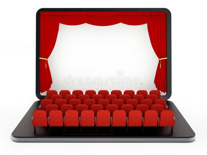Rote Sitze auf Laptop-Computer mit leerem Bildschirm Abbildung 3D vektor abbildung