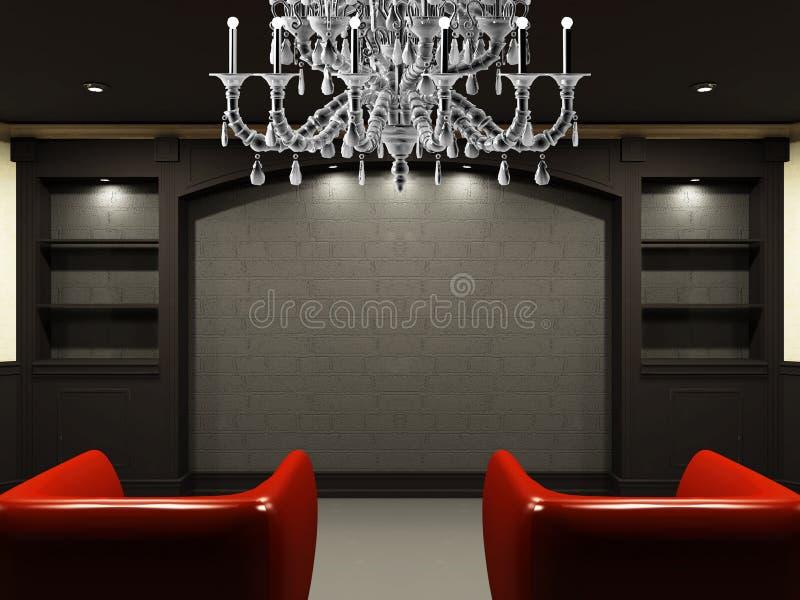 Rote Stühle im Wohnzimmer lizenzfreie abbildung