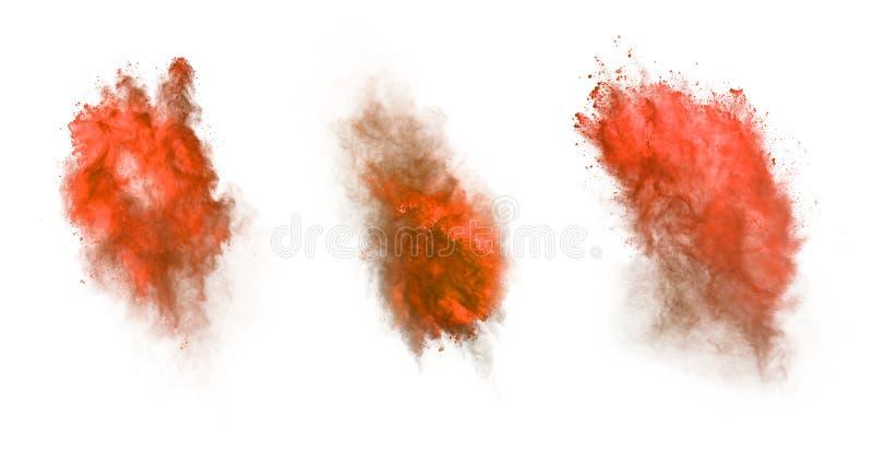 Rote Staubexplosion lokalisiert auf weißem Hintergrund lizenzfreies stockfoto