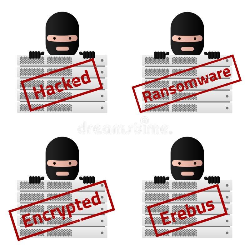 Rote Stempelmitteilungen des Servers zerhackt, Ransomware, verschlüsselt, Erebus stock abbildung