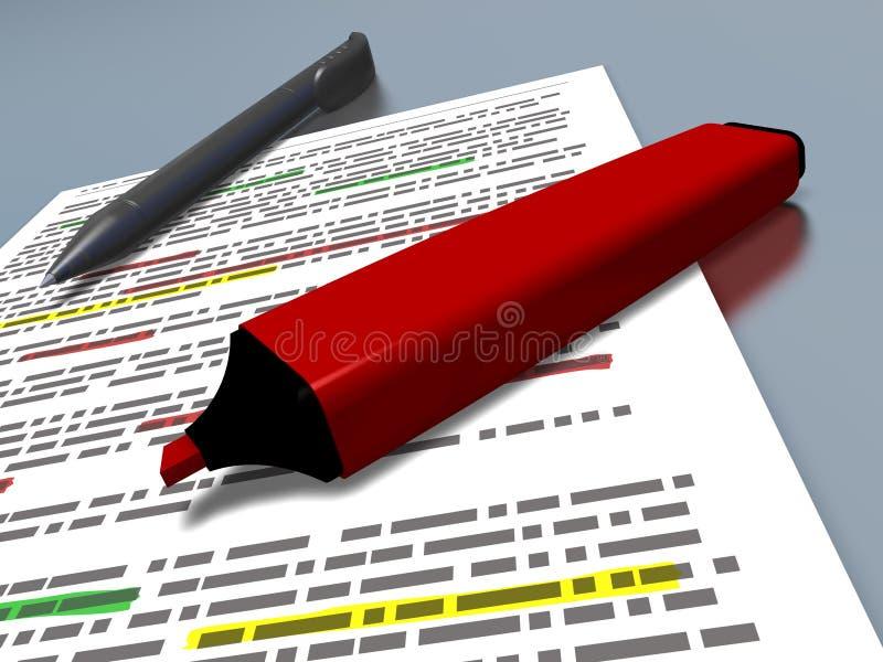 Rote Stiftmarkierung und blauer Stift auf einem hervorgehobenen Dokument stockfoto