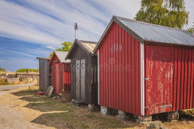Rote Strandhütten stockfoto