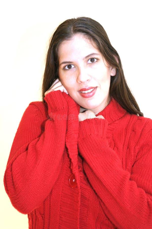 Rote Strickjacke stockbild