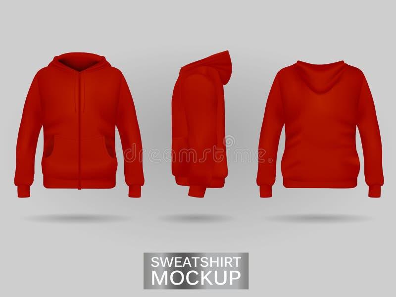 Rote Sweatshirt Hoodieschablone vektor abbildung
