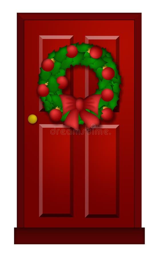 Rote Tür mit Weihnachtswreath-Abbildung vektor abbildung