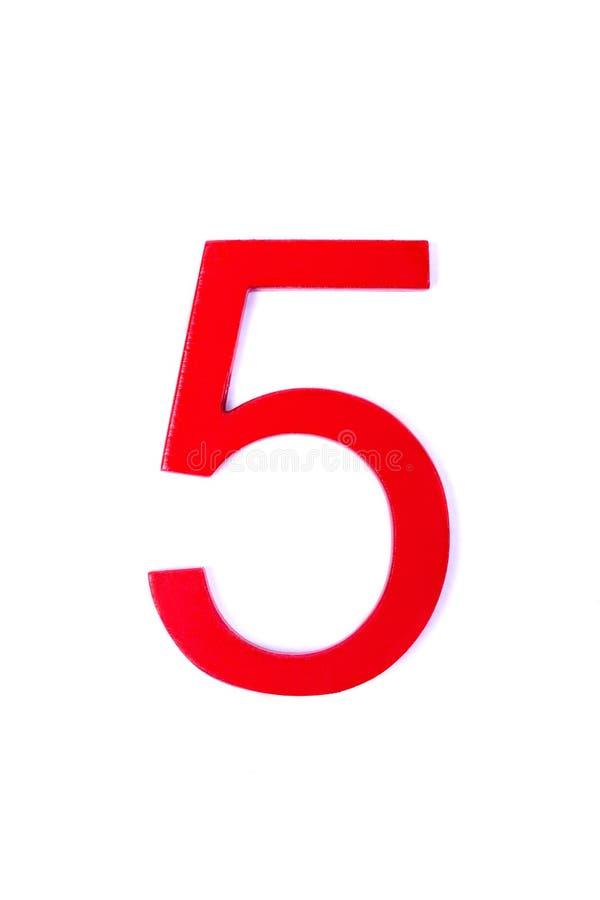 Rote Tabelle fünf auf weißem backgroun lizenzfreie abbildung