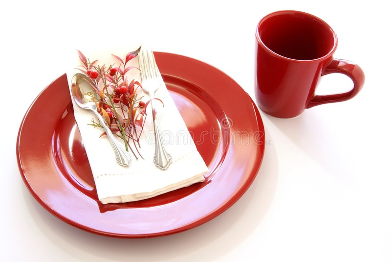 Rote Tabellen-Einstellung lizenzfreies stockfoto