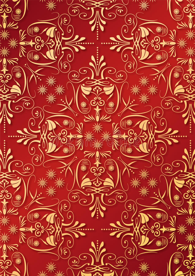 Rote Tapete mit goldener Entlastung vektor abbildung