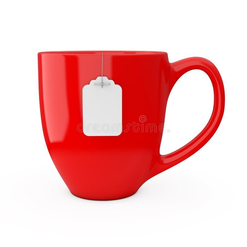 Rote Tasse Tee mit leerem weißem Teebeutel-Aufkleber-Modell renderi 3D stock abbildung
