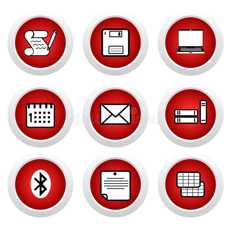 Rote Tasten mit Ikone 9 lizenzfreie abbildung