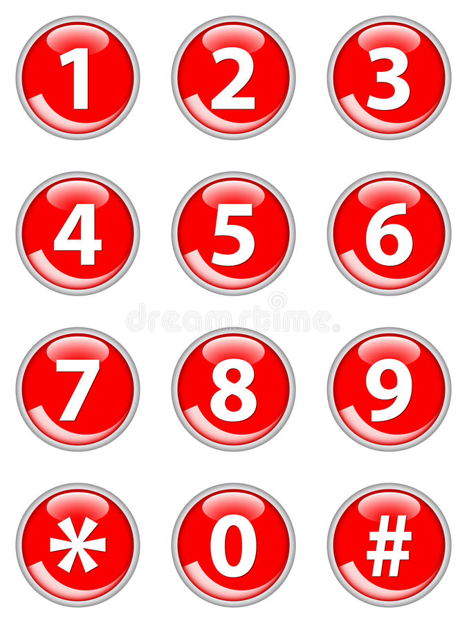 Rote Telefonknöpfe stock abbildung