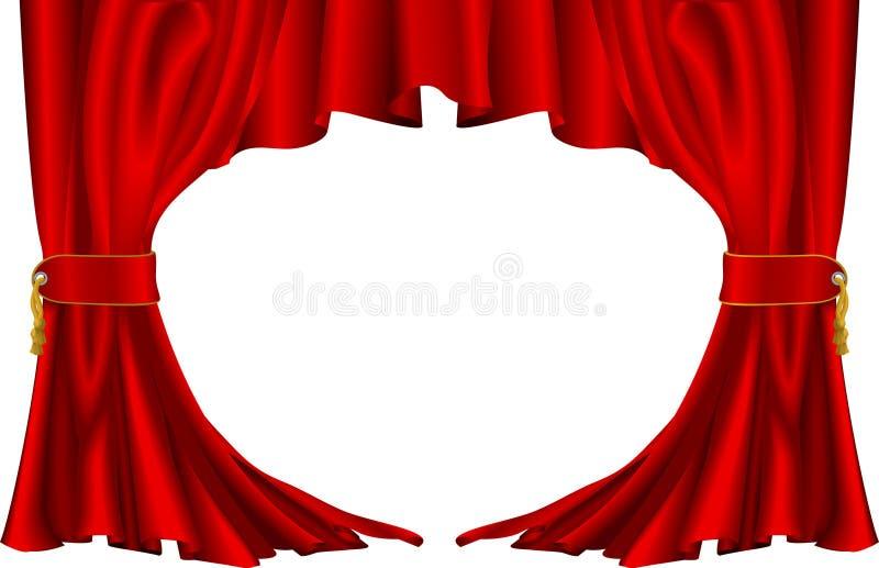 Rote Theaterarttrennvorhänge stock abbildung
