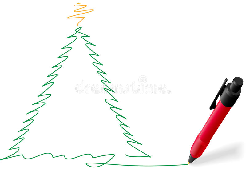 Rote Tintenfeder, die fröhliche Weihnachtsbaumzeichnung schreibt vektor abbildung