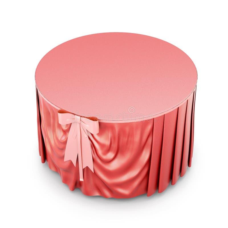 Rote Tischdecke mit dem Bogen lokalisiert auf weißem Hintergrund 3d übertragen vektor abbildung