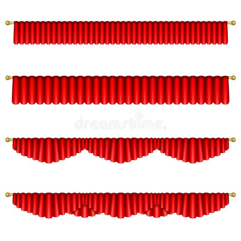 Rote Trennvorhänge Lokalisiertes O vektor abbildung