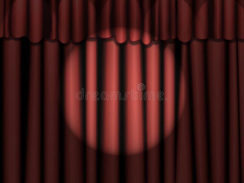 Rote Trennvorhänge mit Scheinwerfer lizenzfreie stockfotos