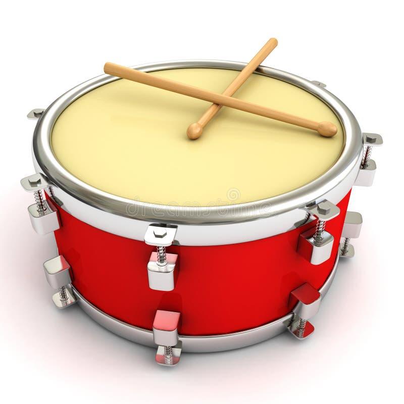 Rote Trommel und Trommelstöcke auf weißem Hintergrund vektor abbildung