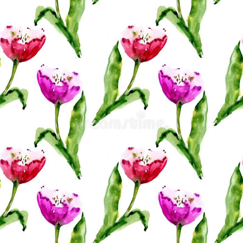 Rote Tulpe, Aquarell, kopieren nahtloses vektor abbildung