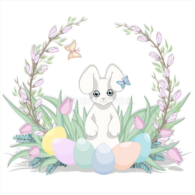 Rote Tulpe und farbige Eier Gras, Häschen und Ei Fröhliche Ostern lizenzfreies stockfoto