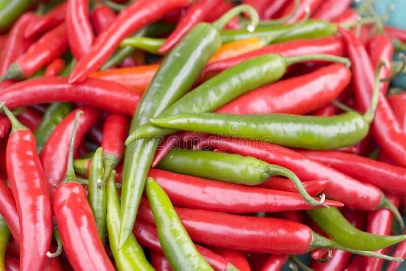 Rote u. grüne Paprikas stockfoto