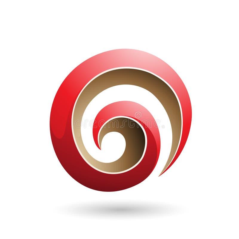 Rote und beige glatte Form-Vektor-Illustration des Strudel-3d vektor abbildung