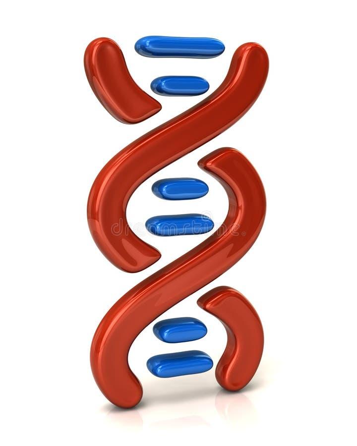 Rote und blaue DNA-Ikone lizenzfreie abbildung