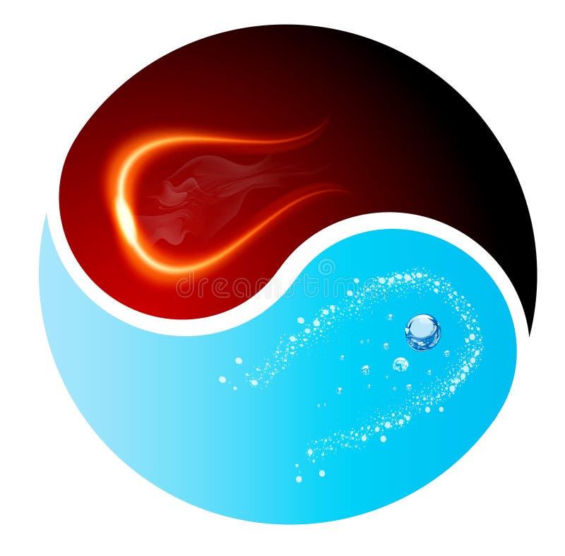 Rote und blaue Feuer- und Wassererdelemente Yin-Yang-Symbols stock abbildung