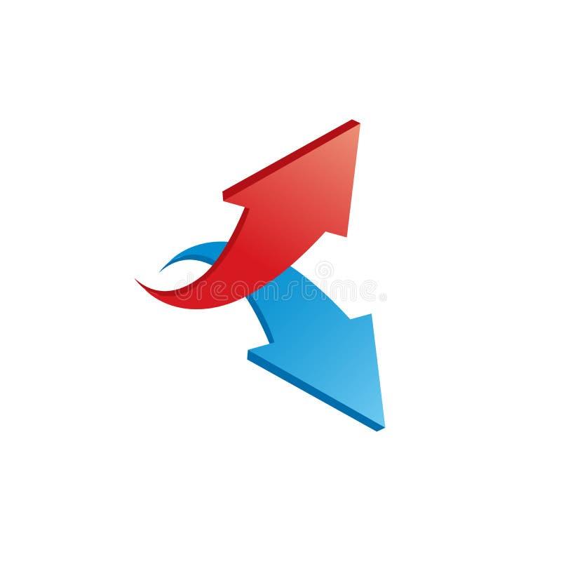 Rote und blaue glänzende Pfeile 3d Vektorabbildung auf weißem Hintergrund vektor abbildung