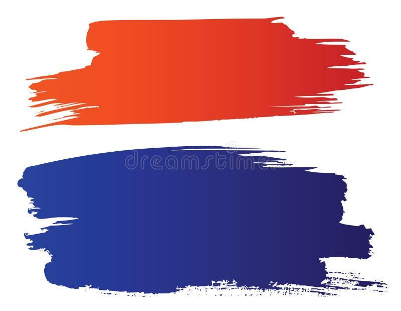 Rote und blaue grunge Pinsel lizenzfreie abbildung