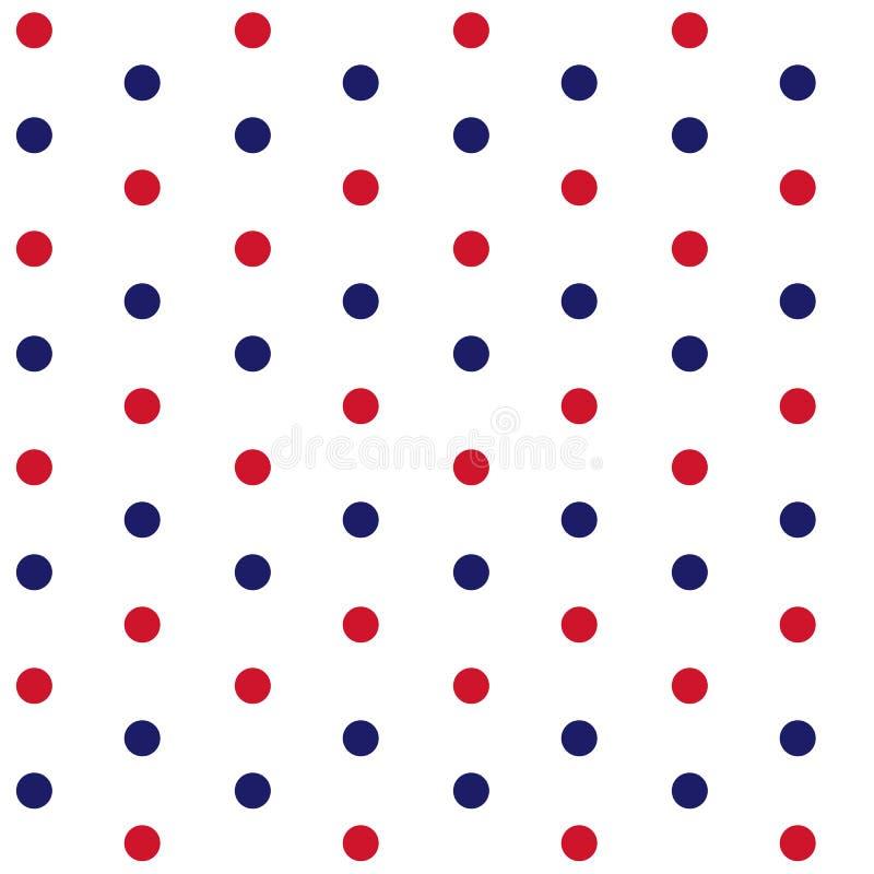 Rote und blaue Punkte auf weißes Hintergrundmarinethema nahtlosem patt vektor abbildung